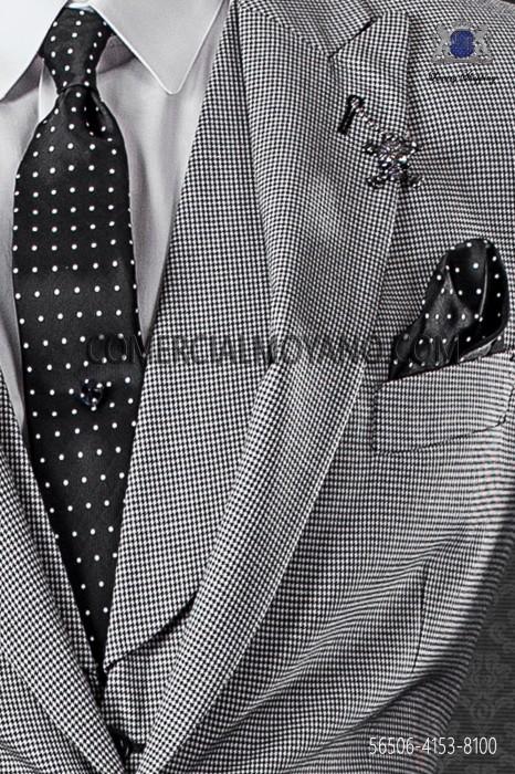 Black with white polka dots narrow tie and handkerchief