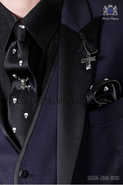 Narrow black tie and handkerchief silk satin with white skulls