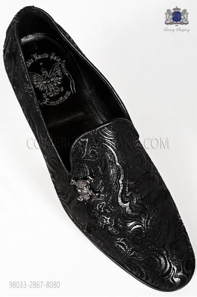 Black damask slipper shoe with applied nickel skull