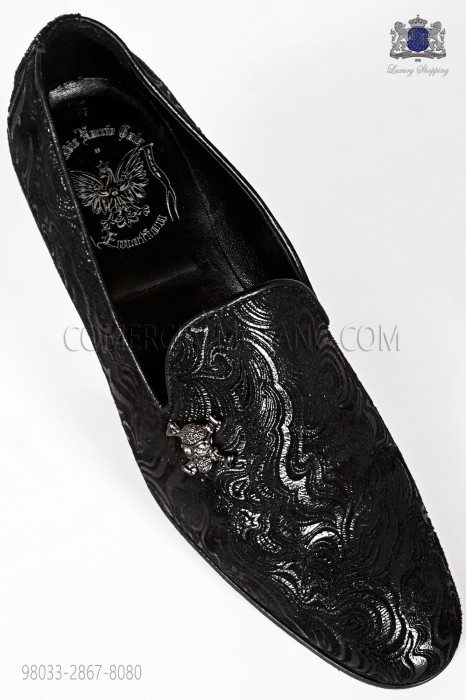 Black damask slipper shoe with applied nickel skull