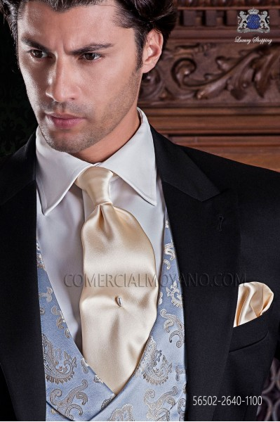 Ivory satin tie and handkerchief