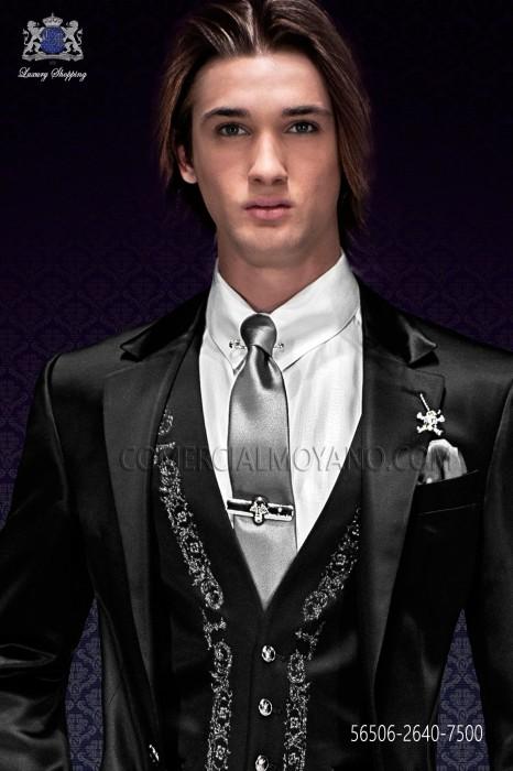 Narrow gray satin tie with matching handkerchief