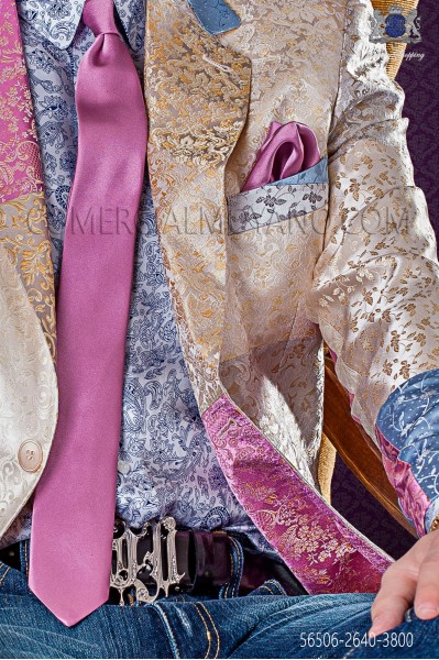 Narrow pink satin tie with matching handkerchief