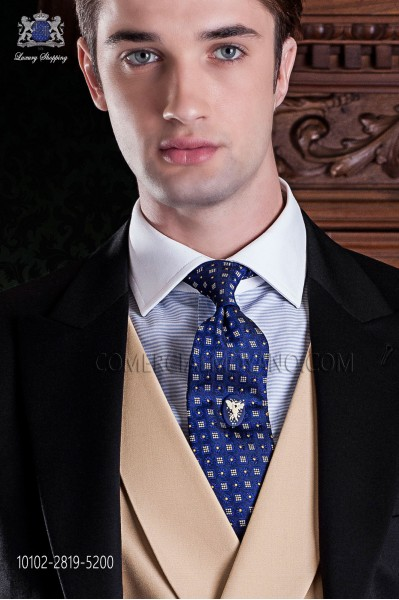 Blue silk tie with golden patterns