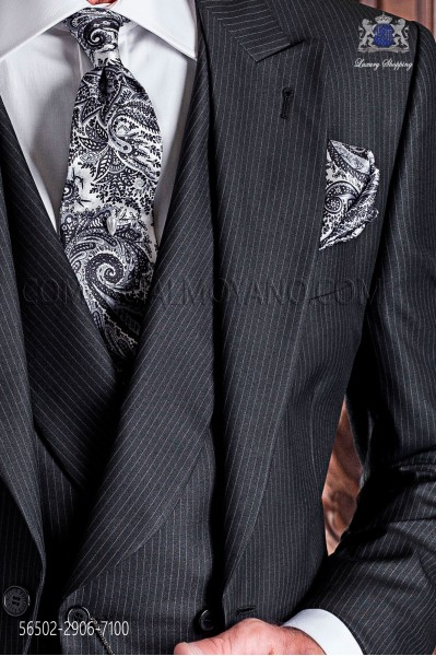 Gray silk tie with paisley design and matching pocket handkerchief