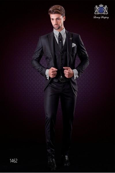 """Traje negro italiano de moda con moderno corte """"Slim"""""""