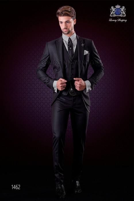 Italian black fashion suit modern slim cut 1 button with peak lapel