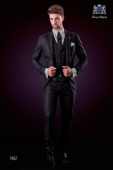 Italian black fashion suit modern slim cut 1 button with peak lapel