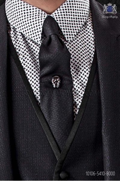 Narrow black fashion tie with lurex microdots