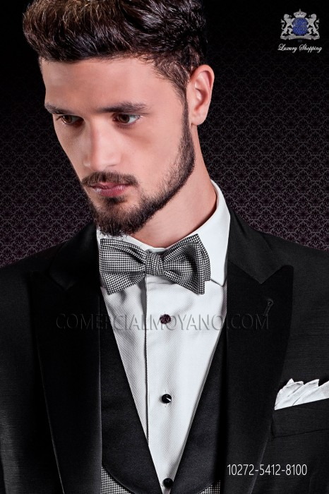 black and white houndstooth bow tie