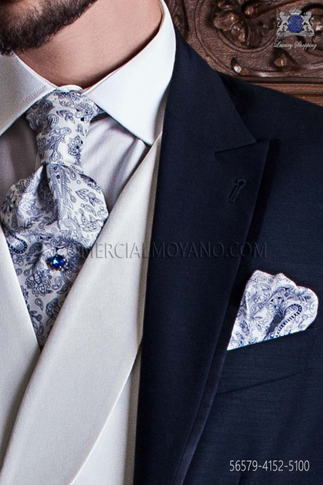 White ascot tie with blue paisley pattern and handkerchief set