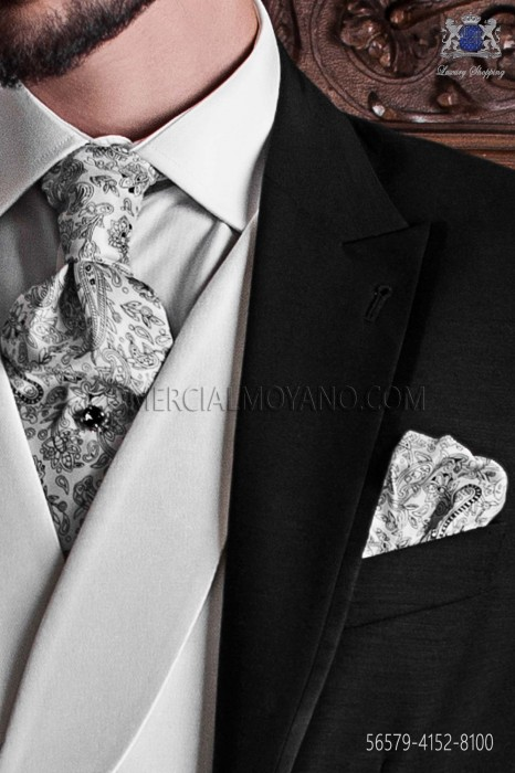 White ascot tie with black paisley pattern and handkerchief set
