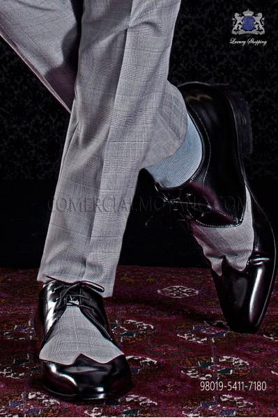 Black & gray glen plaid bicolor leather shoes