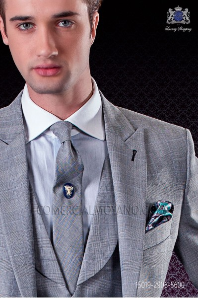 Light blue silk pocket handkerchief cashmere On Gala