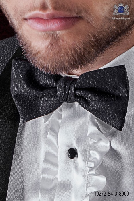 Black fashion bow tie with lurex microdots
