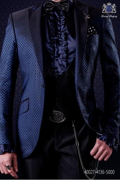 Blue satin shirt with ruffles