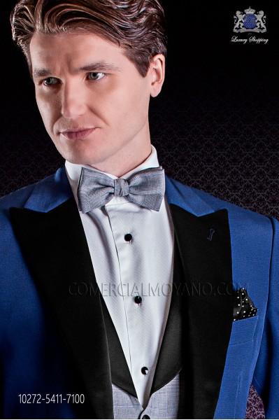 Gray glen plaid design bow tie
