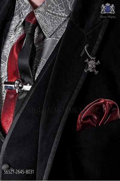 Corbata y pañuelo moda lúrex rojo y negro