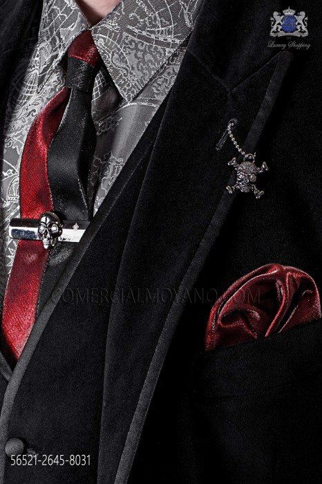 Black and red lurex fashion narrow tie & red handkerchief