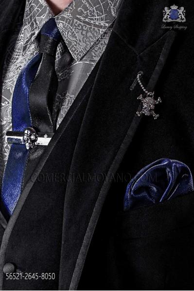 Black and dark blue lurex fashion narrow tie & dark blue handkerchief