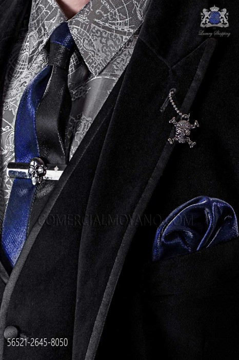 Black and dark blue lurex fashion narrow tie & dark blue handkerchief