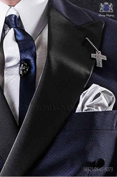 Dark blue and pearl gray lurex narrow tie with gray handkerchief