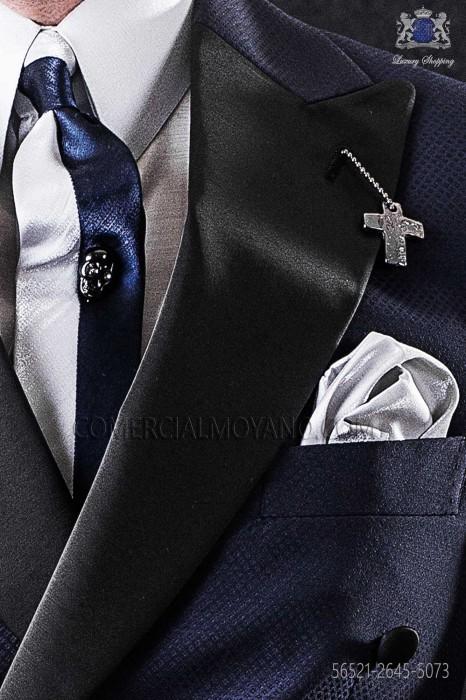 Dark blue and pearl gray lurex narrow tie with gray handkerchief
