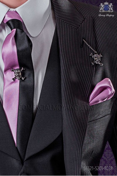 Black and pink satin fashion narrow tie & pink handkerchief