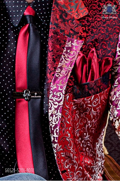 Black and red satin fashion narrow tie & red handkerchief