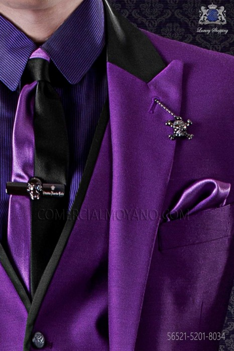 Black and purple satin fashion narrow tie & purple handkerchief