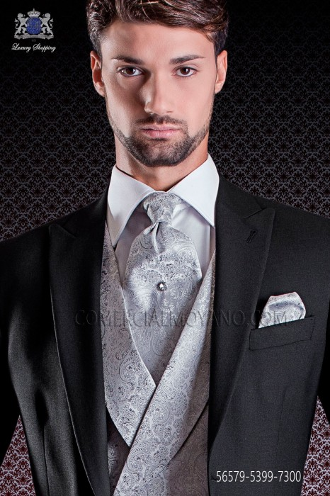Groom Tie with pocket handkerchief ascot in pearl gray jacquard design