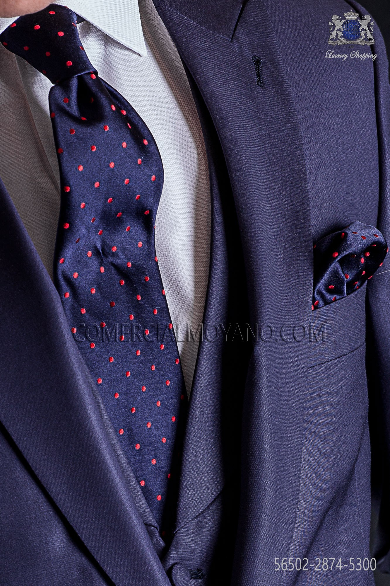 fe7bb8f8763c Navy blue tie with red polka dots and matching pocket handkerchief. Loading  zoom