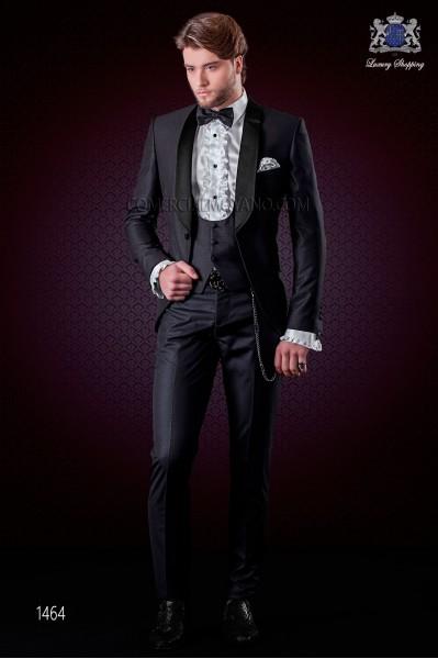 Italian black fashion suit modern slim fit 1 button with shawl lapel