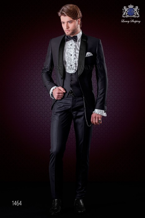 Italian black fashion suit modern slim fit 1 button with shawl lapel