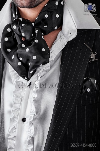 Foulard with handkerchief in black satin with white polka dots