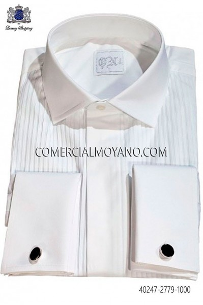 White Pleated Bib Tuxedo Shirt