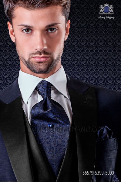 Blue cashmere design ascot tie with maching pocket handkerchief