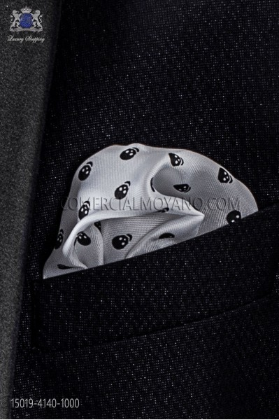 Pañuelo de bolsillo calaveras en blanco 15019-4140-1000 Ottavio Nuccio Gala