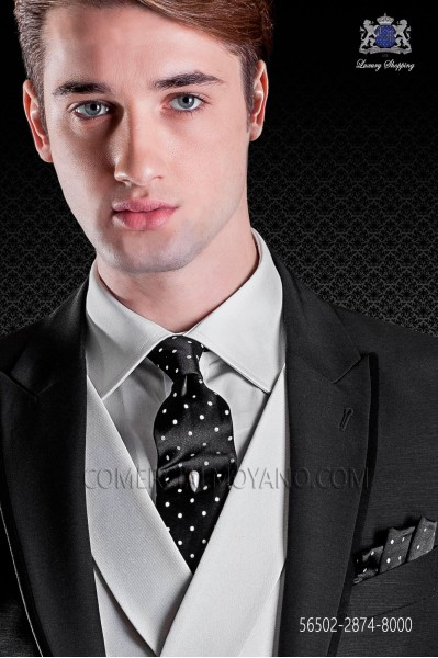 Black tie with white polka dots and maching pocket handkerchief
