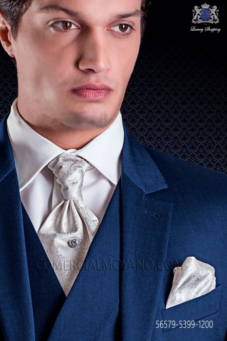 Groom ascot tie with pocket handkerchief in ivory jacquard design