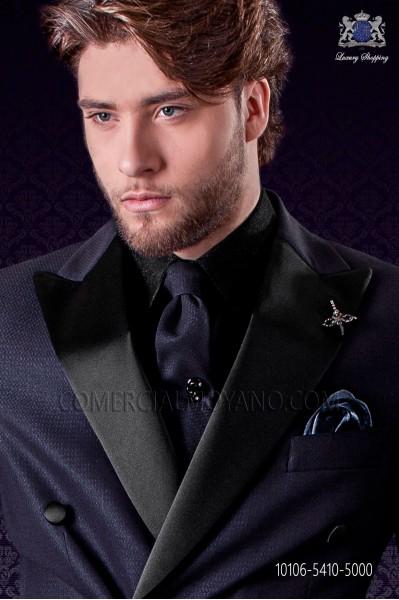 Narrow blue fashion tie with lurex microdots