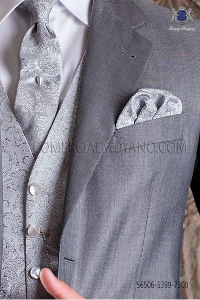 Corbata de novio y pañuelo en diseño jacquard perla