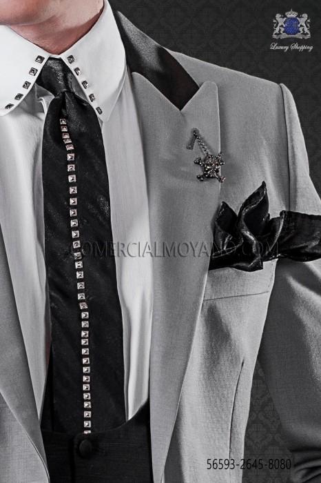 Lurex black tie with dark metal fixtures & black matching handkerchief