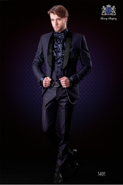 Italian blue fashion suit slim fit. Tuxedo 1 button with shawl lapel