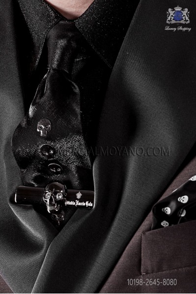 Narrow black fashion tie with skulls metal fixtures