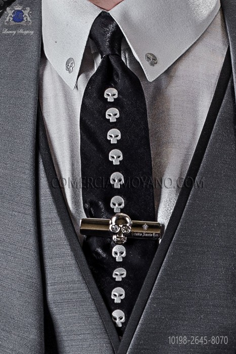 Narrow black fashion tie with nickel skulls metal fixtures