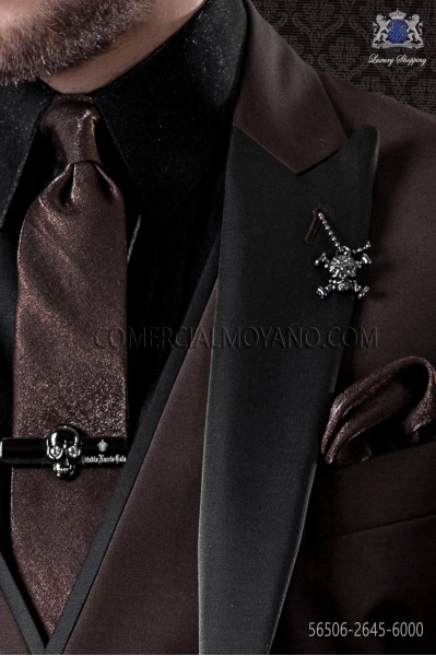 Narrow lurex brown tie with matching handkerchief