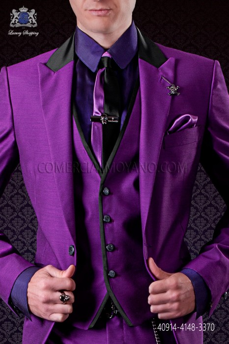 Purple shirt with black pinstripes
