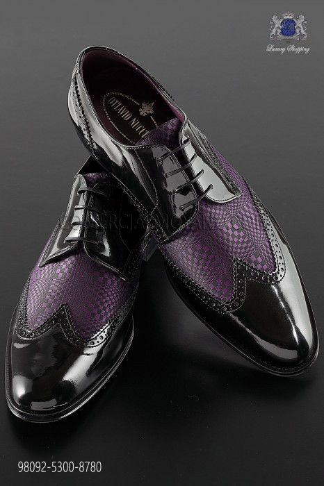 "Black & purple leather ""Golf"" shoes"