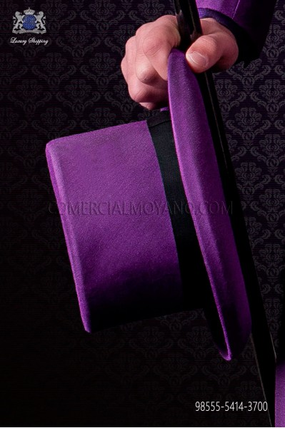 Purple top hat plain fabric matching suit